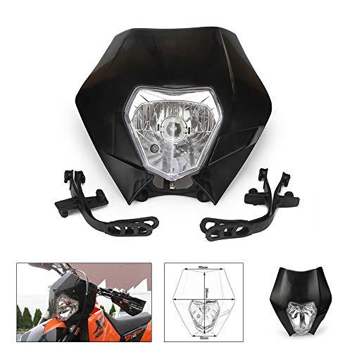 An Xin Universal Schwarz Kopf Lampe Licht Scheinwerfer Verkleidung Street Fighter Maske Day Running Light Blinker Lichter Motorrad Motorräder Motocross Enduro Roller ATV Pit Dirt Bike Enduro