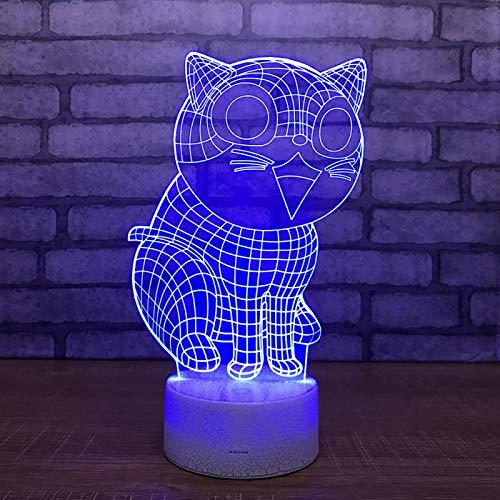 Luz de Noche Gato Ilusión óptica Lámpara 3D 7 Colores Cambio de Control táctil Luz de Mesa LED Lámpara para Dormir Decoración del hogar Cumpleaños/Navidad/Regalos de Fiesta para niños