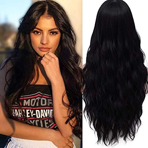 TANTAKO® Frauen Damen Lange Haar Lockig Wellig Schwarze Perücken Hitzebeständige Kunsthaar Perücke für Cosplay und täglichen Gebrauch