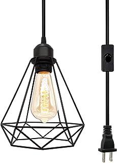 Farmhouse Plug in Pendant Light, Industrial Pendant Lighting, Black Cage Pendant Light with On/Off Switch Wire Pendant Light, Geometric Light Fixtures, Farmhouse Light Fixture for Kitchen/Dining/Room