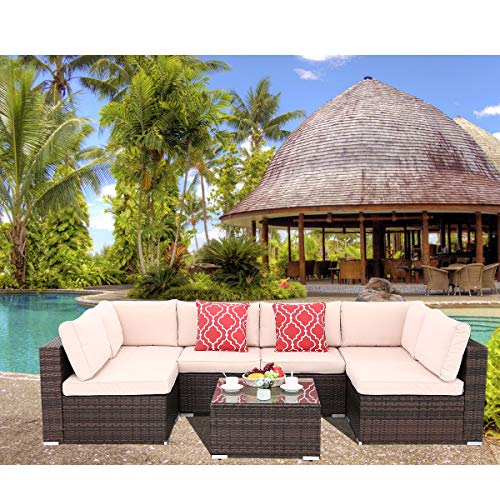 Polar Aurora 7pcs Outdoor Patio Sofa Set PE Rattan Wicker Sectional Furniture Outside Couch w/Washable Seat Cushions & Modern Glass Coffee Table