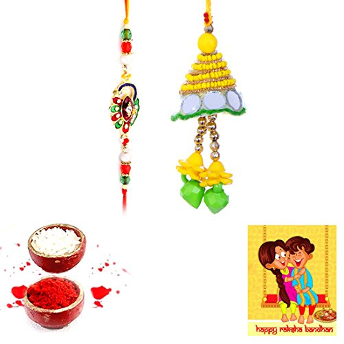 Great Deal! PRIGLO | Rakhi for Brother | Handmade Designer Exclusive Bhaiya Bhabhi Rakhi Set