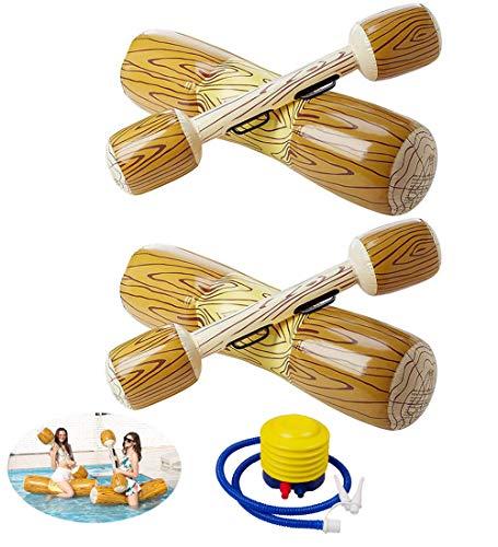 2 Stück gesetzte aufblasbare Schwimm Reihe Spielwaren, Erwachsene Kinder-Pool-Party Wassersportspiele Lügen Flöße Float Spielzeug mit Handpumpe