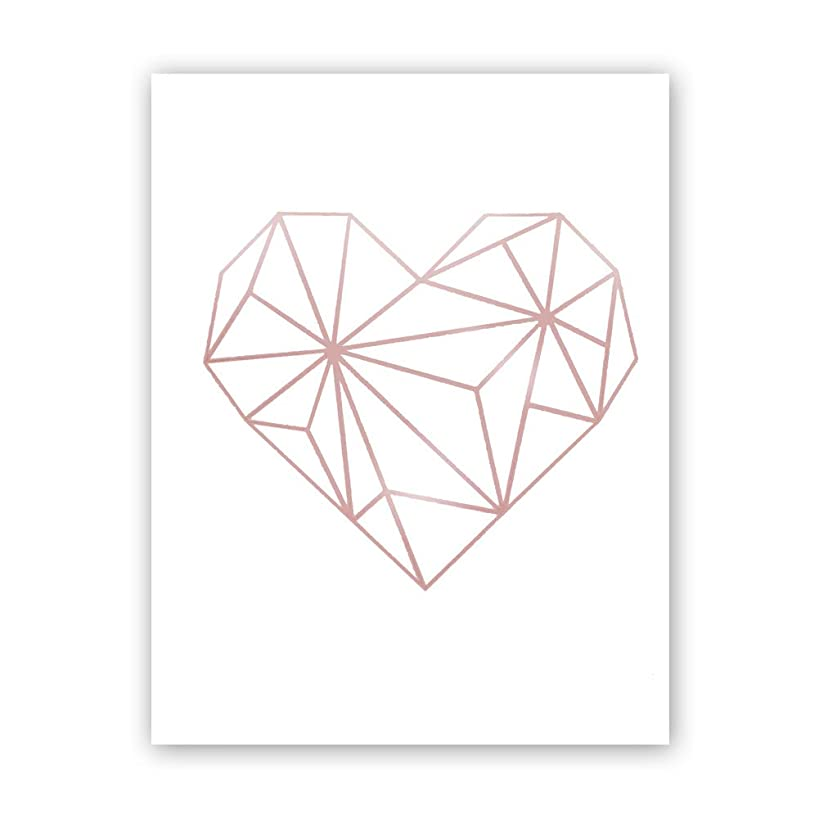 Abstract Geometric Heart Rose Gold Foil Print,Inspirational Quote Cardstock Art Print Poster Love Wall Art Decor–Great Gift for Girls (Set of One,8x10 inch,UNFRAMED)