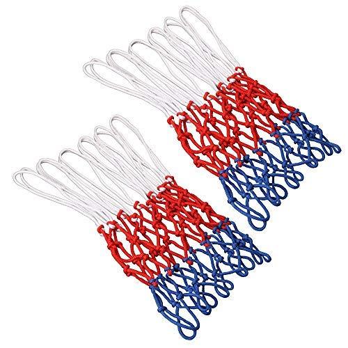 GTIWUNG Set de 2 Red de Canasta, Red Tricolor Blanco/Azul/Rojo, Red de Baloncesto de 12 Bucle, Malla Estándard para Canasta de Baloncesto, Robusto para Uso Interior y Exterior