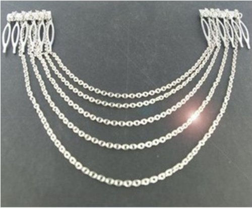 Silver Hair Pin Combs with Chain Cuff Jewellery Bridal Decoration Bride Head Band by Kiara H&B