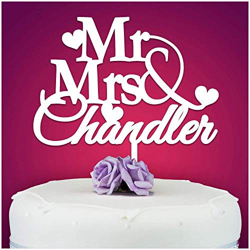 PERSONALISED Wedding/Anniversary Cake Topper Decoration - Personalise with ANY SURNAME - MR & MRS - Food Safe Acrylic Cake Decoration - Made from Strong Acrylic - Different Colours