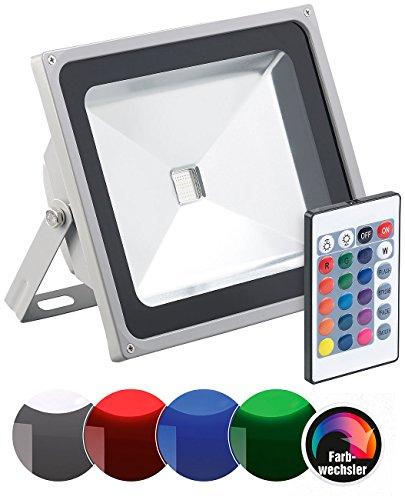 Luminea RGB Strahler Outdoor: Wetterfester RGB-Fluter mit SMD-LEDs, Fernbedienung, 4.000 lm, 50 Watt (LED RGB Strahler Outdoor)