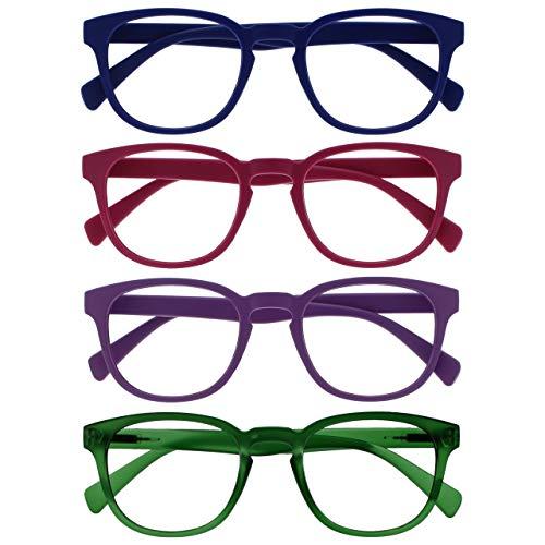 Opulize Pop Pack 4 Retro Redondo Azul Rosa Púrpura Verde Hombres Mujeres Gafas De Lectura Bisagras Resorte RRRR2-3456 +2,00