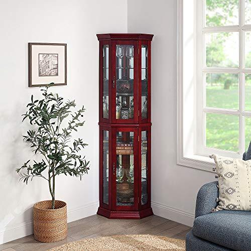 BELLEZE Lorona Floor Standing 5 Sided Lighted Corner Curio Cabinet, Cherry