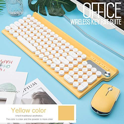XYQ 2.4G USB draadloze toetsenbord muis voor Macbook Asus Dell Laptop Keyboard Oplaadbare toetsenbord muis * wit/geel/zwart tricolor, geel