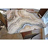 Marble Polyester Fitted Tablecloth,Surreal Onyx Stone Surface Pattern with Nature Details Artistic Picture Decorative Square Elastic Edge Fitted Table Cover,Fits Square Tables 48x48 Cinnamon Grey Tan