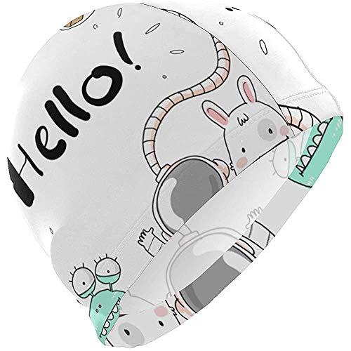 Gorro de baño Hello Rocket Galaxy Alien Monster Gorro de baño para Hombre Niño Adulto Joven Adolescente Sombrero de natación Antideslizante