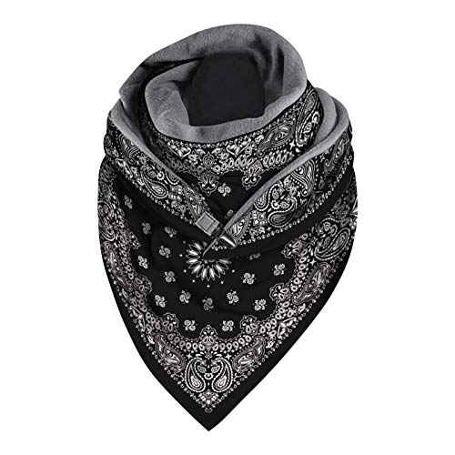 FAHOTE Men Women Button Triangle Scarf Winter Scarf Classic Plaid Scarf Warm Soft Neck Warmer Face Mask Blanket