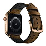 OUHENG Compatible with Apple Watch Band 42mm 44mm, Sweatproof Genuine Leather and Rubber Hybrid Band Strap Compatible with iWatch Series 6 5 4 3 2 1 SE, Retro Dark Brown Band with Gold Adapter