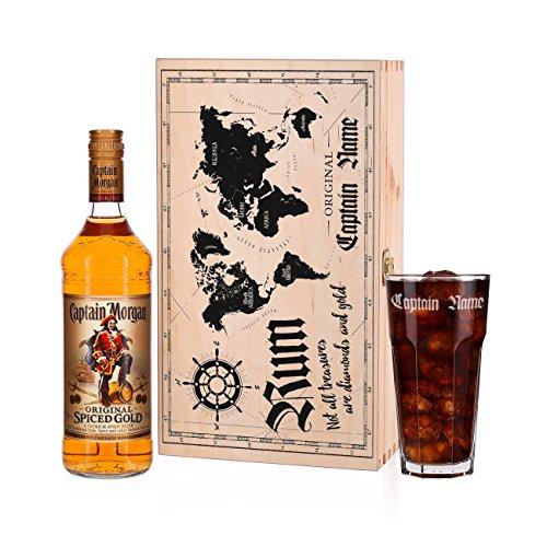 Herz & Heim® Captain Morgan Spiced Gold Geschenkset mit graviertem Glas in hochwertiger Geschenkverpackung