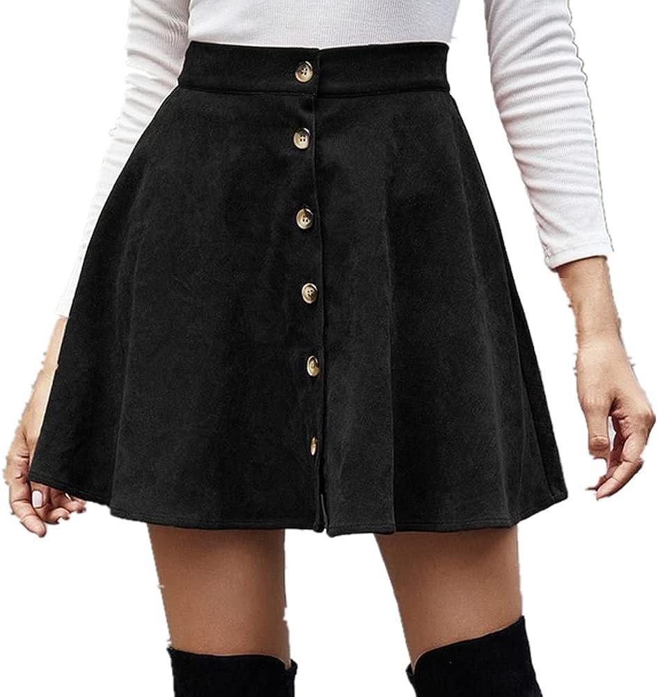 NP Women Mini Skirt Autumn Winter Color Single Breaste Line Skirt Female Waist