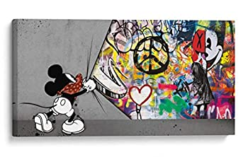 Banksy Wall Art Graffiti Wall Art & Large Pop Art Décor Museum Quality Canvas Wall Decoration by Canvas Lab - Beautiful Bright Colors - Pop Art Mouse  XL   40x20in
