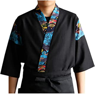 Mens Women Patchwork Sushi Chef Jacket Japanese Kitchen Uniform Sushi Workwear Printed Kimono Cardigan