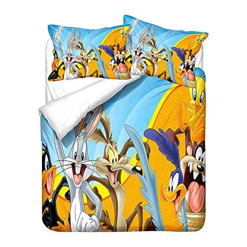 Probuk 3D Bugs Bunny Juego de cama infantil Anime Funda nórdica Niños Chicos Niñas Ropa de cama mullido con funda de almohada (A-03,150 x 200 cm (50 x 75 cm)
