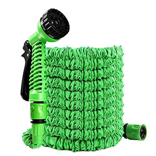 Uni-Wert Manguera de Jardín Extensible 7,5m Manguera Flexible Látex Manguera de Agua con 7 Funciones de Pistola Pulverizadora para Jardín Césped Riego, Verter Flores, Limpiando el Coche