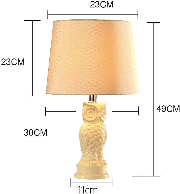 AME Tischlampe American Modern Minimalist Keramik Tischlampe Schlafzimmer Nachttischlampe Eule Modellierung Tischlampe, Weiß, H49Cm  W30Cm B07JFX1SGC     | Online Shop