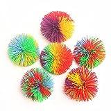 2.5'Mini Monkey Stringy Balls Set of 6, Soft Active Fun Toy, Sensory Fidgets Toys, Stress Balls with Colorful Pom Ball, Colorful Bouncy Ball / Stress / Sensory Toy (Multicolor)
