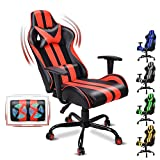 FERGHANA Ergonomic Racing Style PC Computer Chair,Video Gaming Chair with Massage Lumbar Pillow,Seat Height Adjustable,160°Recliner,Headrest for Teens Adults(Tango Red)