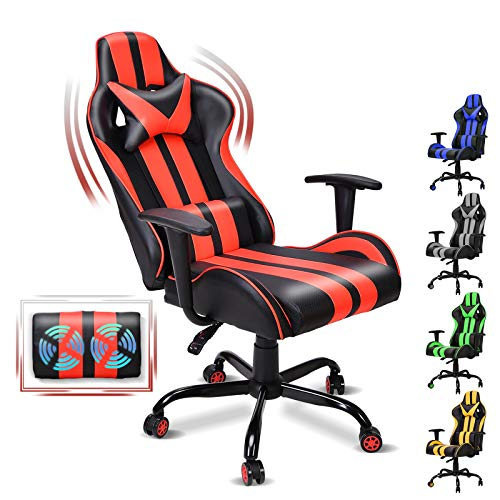 FERGHANA Ergonomic Gaming Chair,Racing Style Red Gaming Chair with Massage Lumbar Pillow,Seat Height Adjustable,160°Recliner Chair for Teens Adults Room Decor(Tango Red)