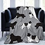 ANJAY Throw Blanket - for Bed Couch Plush Suitable for Fall Winter and Summer (40x50 Inches) Newfie Dog