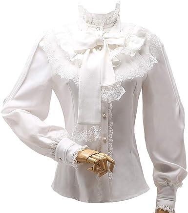 Gasa Lolita Blusa Mujer Victoriana Vintage Collar de pie Arco Camisa Volantes De Manga Larga Tops 5 Colores S-2XL