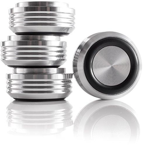 Alta fidelidad Lab aluminio pies maciza 30x 14Audio absorber dispositivos pies de aluminio plata 4x