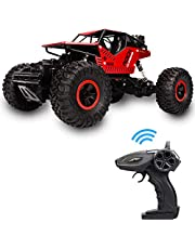 Rover rock Stunt RC Car, 4WD 2.4GHz Remote Control truck with off road tires LED Lights RC drift cars for Boys Birthday (Red)