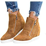 FISACE Women's Platform Sneakers Hidden Wedges Side Zipper Faux Leather Perforated Ankle Booties