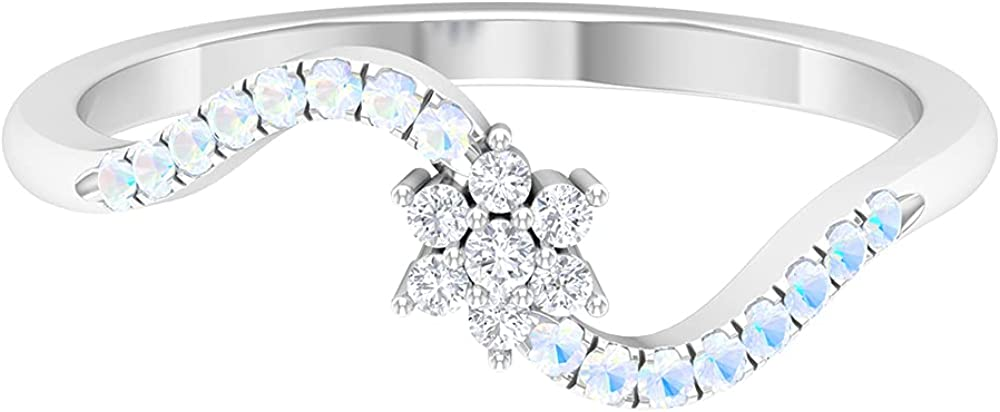1 Manufacturer OFFicial shop 4 Spring new work one after another CT Floral Diamond and Promise Ring Moonstone Rainbow Created