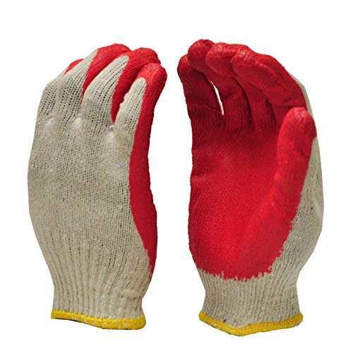GF Gloves 3106-300 Economical String Knit Latex Dipped Palm Gloves, Nitrile Coated Work Gloves for General Purpose, One Size, Red (Pack of 300)