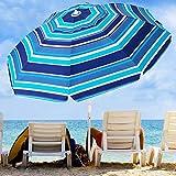 KITADIN 6.5FT Beach Umbrella Portable Outdoor Patio Sun Shelter with Sand Anchor, Fiberglass Rib, Push Button Tilt and Carry Bag (Blue/White)