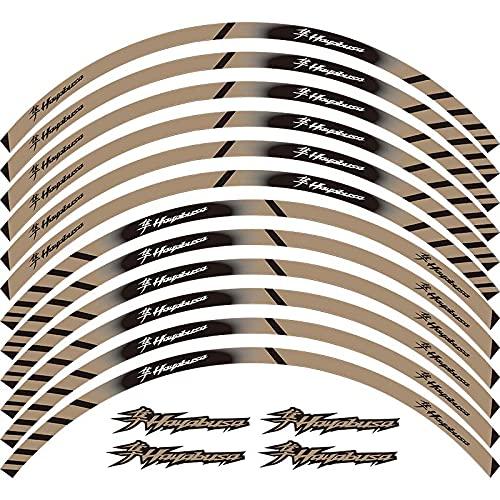 12 x Borde de grueso Etiqueta externa de la rotura de la rotura de la raya de las calcomanías de la rueda ajustada para Hayabusa GSXR1300 GSX1300R GSXR1300R (Color : 5)