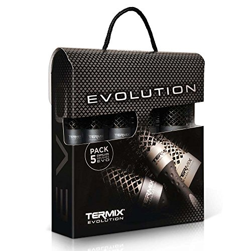 Termix Evolution Plus -Pack de 5 cepillos de pelo térmico redondo con fibra ionizada, diseñadas para cabello grueso. El...