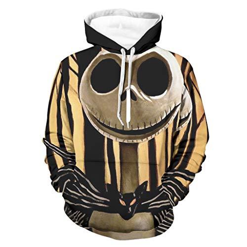 Jack Nightmare Before Christmas Sudaderas con capucha de Halloween, suave y cómodo suéter con bolsillo canguro bifurcado para hombres y mujeres para la vida diaria, color blanco 4XL