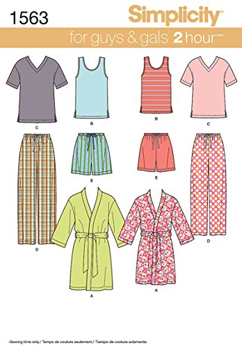 Simplicity US1563A Easy to Sew Teen's, Men's and Women's Pajama Sewing Pattern Kit, Code 1563, Sizes XS-XL