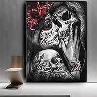 スカルガールウーマンハロウィーンダイヤモンド刺繡手作りフルドリルスクエア5dDiyダイヤモンドペインティングラインストーンの写真