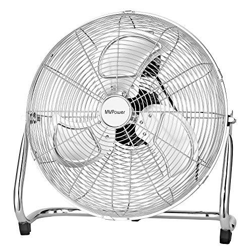 MVPower Ventilatore da Tavolo, Ventola da Pavimento in Metallo da 16 Pollici, Forza del Vento Alta 100 W, Impostazione a Tre Velocità, Inclinazione di 110 °, Design Portatile