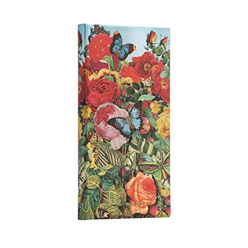 Paperblanks 12-Monatskalender 2021 Schmetterlingsgarten | Horizontal | Schlank (95 × 180 mm)