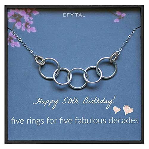 EFYTAL 50th Birthday Gifts for Women, 925 Sterling Silver Five Circle Necklace For Her, Thick Ring 5 Decade Jewelry 50 Years Old