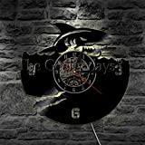 Rgzqrq LED Animal Marino decoración de la Pared lámpara de Pared del Acuario lámpara de señal led Vinilo atmósfera silenciosa decoración de la lámpara Reloj 30x30 cm