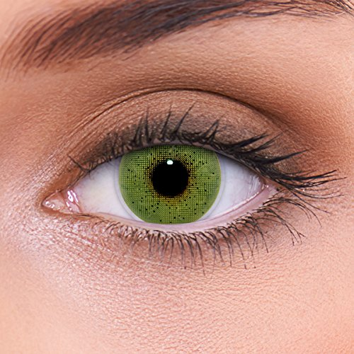 LENZOTICA Sehr stark natürlich deckende grüne Kontaktlinsen farbig SOLID GREEN + Behälter von LENZOTICA I 1 Paar (2 Stück) I DIA 14.00 I ohne Stärke I 0.00 Dioptrien