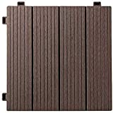 YuPaoPao Interlocking Outdoor Floor Patio Decking Wood Plastic Composite Flooring Balcony Tiles Weather and Slip Resistant 12'× 12', Pack of 10 (10 sq.ft) (2-Coffee)
