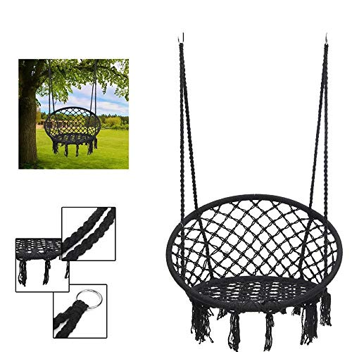 Hangstoel Draagbare Geweven touw stoelzetel Opknoping Hangmat Binnen Slaapkamer Kinderen Ronde Swing Hangstoel Indoor Outdoor Thuis Patio Yard Garden (Color : Black, Size : 120cm)