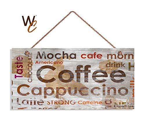 Schild im Antik-Look, verwitterter Holzstil mit Cafe Mokka Cappuccino Latte Schriftzug, 12,7 x 25,4 cm, Cafe Dekor